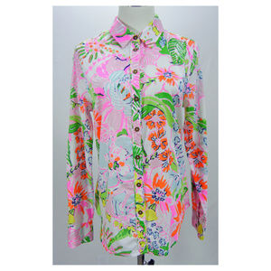 LILLY PULITZER Shirt Blouse Cotton Floral Pink